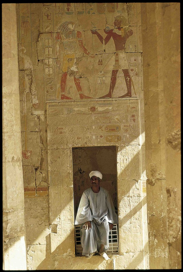 Detalle de la entrada a una tumba faraónica